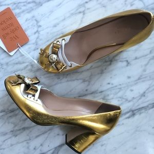 Auth Gucci Gold Heels